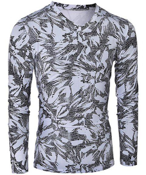 Fashionable V-Neck Printing Design Long Sleeve Men's T-Shirt - WHITE/BLACK M