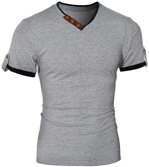 Fashionable V-Neck Color Block Spliced Button Embellished Short Sleeve Men's T-Shirt - GRAY M