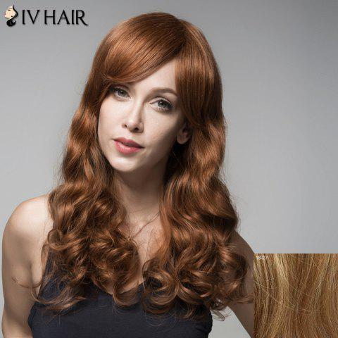 Fluffy Human Hair Wavy Side Bang Siv Hair Wig For Women - LIGHT BLONDE 18/27