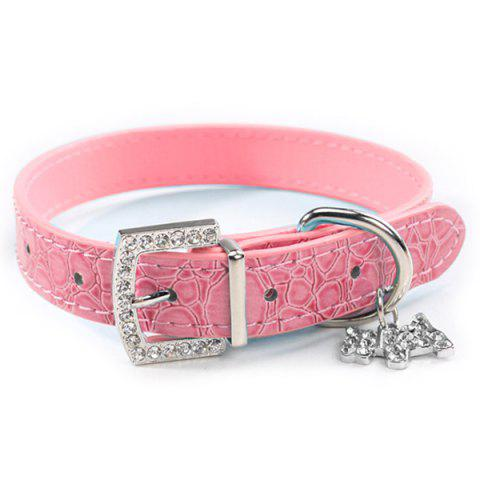 Fashionable Rhinestone Decor Pendant PU Leather Adjustable Dog Collars - PINK XS