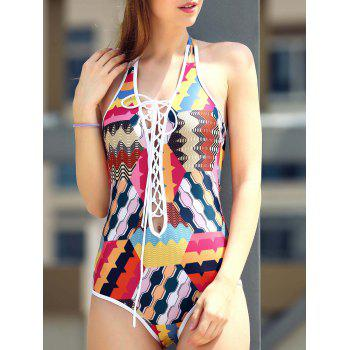 Sexy Lace-Up Colorful Print Hollow Out One Piece Swimwear For Women