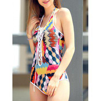 Sexy Lace-Up Colorful Print Hollow Out One Piece Swimwear For Women - COLORMIX S
