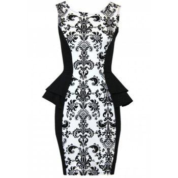 Fashionable Sleeveless Round Collar Spliced Printed Women's Dress