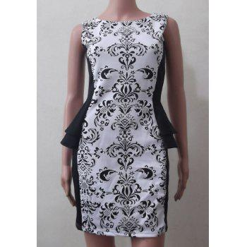 Fashionable Sleeveless Round Collar Spliced Printed Women's Dress - WHITE L
