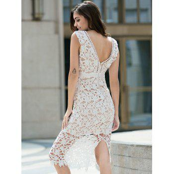Alluring Plunging Neck Sleeveless Hollow Out Bodycon Women's Slit Dress - XL XL