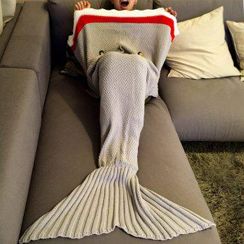 Chic Quality Knitted Shark Shape Mermaid Tail Design Blanket