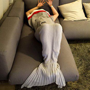 Chic Quality Knitted Shark Shape Mermaid Tail Design Blanket -  LIGHT GRAY