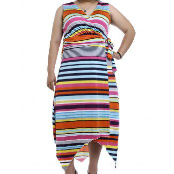 Chic Sleeveless V-Neck Asymmetrical Multicolor Striped Women's Dress