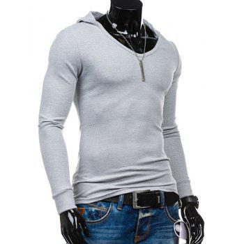 Slimming Hooded Solid Color Long Sleeves Men's T-Shirt - LIGHT GRAY L