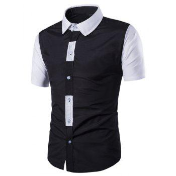 Special Button Fly Color Spliced Turn-down Collar Short Sleeves Men's Shirt