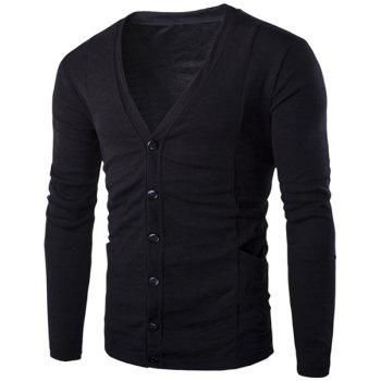 Loose Fit V-Neck Stereo Patch Pocket Solid Color Long Sleeves Men's Cardigan