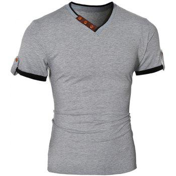 Fashionable V-Neck Color Block Spliced Button Embellished Short Sleeve Men's T-Shirt