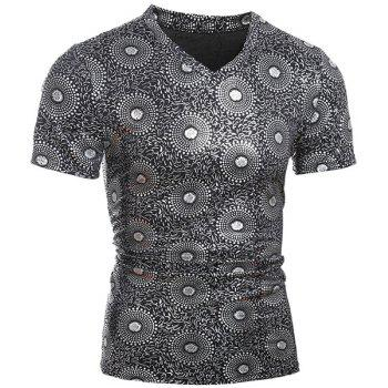 Fashionable V-Neck Stamping Design Short Sleeve Slimming Men's T-Shirt