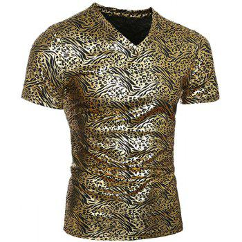 Trendy V-Neck Stamping Design Short Sleeve Men's T-Shirt
