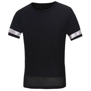 Vogue Round Neck Letters Embroidered Spliced Design Men's Short Sleeves T-Shirt