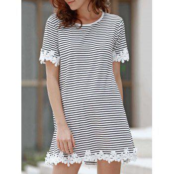 Sweet Style Round Neck Short Sleeve Striped Laciness A-Line Women's T-Shirt