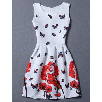 Sweet Sleeveless Floral Jacquard Round Neck Women's Dress