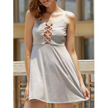 Spaghetti Strap Lace Up Hollow Out Dress For Women