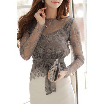 Charming Long Sleeve Round Neck Cut Out Lace Self-Tie Women's Blouse - GRAY S