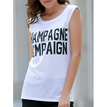 Casual Scoop Neck Letter Tank Top For Women