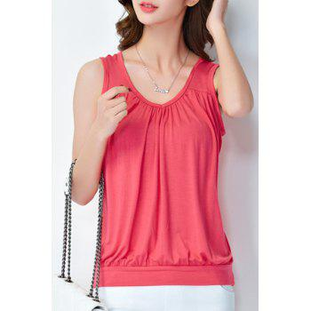 Simple Style Solid Color Plus Size Pleated Tank Top For Women