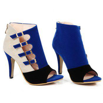 Trendy Color Block and Buckle Straps Design Women's Peep Toe Shoes - DEEP BLUE DEEP BLUE