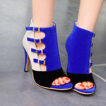 Trendy Color Block and Buckle Straps Design Women's Peep Toe Shoes - 37 37