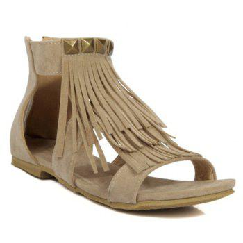 Rome Style Rivets and Fringe Design Women's Sandals