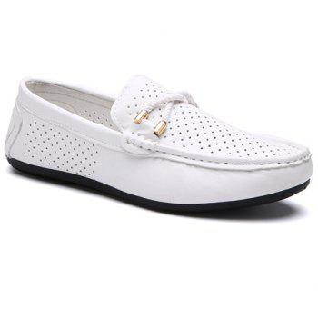 Buy Stylish Breathable PU Leather Design Men's Casual Shoes WHITE