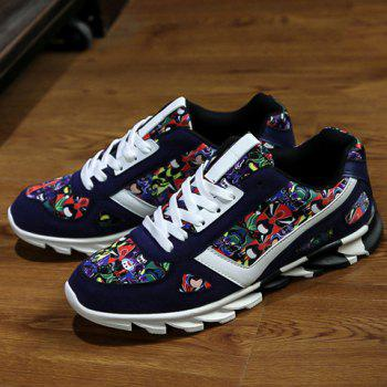 Trendy Multicolor and Peking Opera Mask Pattern Design Men's Casual Shoes - DEEP BLUE 39