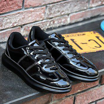 Trendy Stitching and Solid Color Design Men's Casual Shoes - BLACK 43