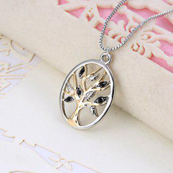 Tree Hollow Out Pendant Necklace - SILVER
