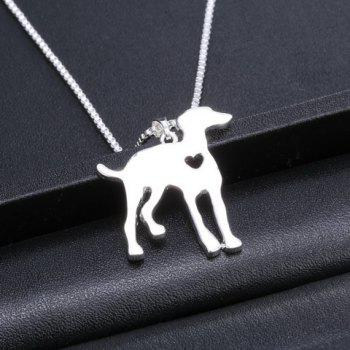 Hollow Out Heart Dog Pendant Necklace