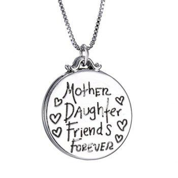 Engraved Letter Round Pendant Necklace