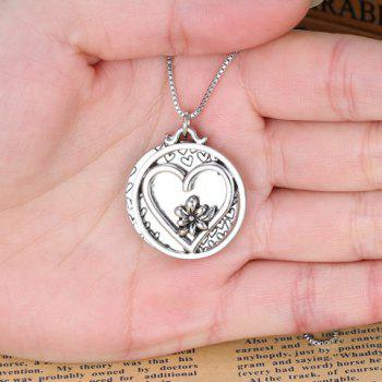 Engraved Letter Round Pendant Necklace - SILVER