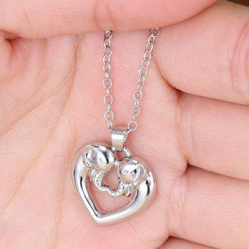 Elephant Heart Hollow Out Alloy Pendant Necklace - SILVER