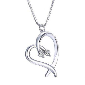 Irregular Heart Rhinestoned Alloy Pendant Necklace