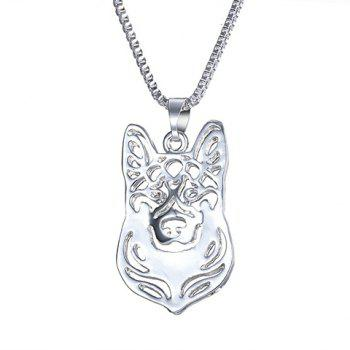 Alloy Herding Dog Hollow Out Pendant Necklace