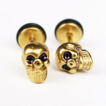 Pair of Chic Skull Earrings For Men - GOLDEN GOLDEN