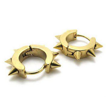Pair of Punk Style Rivet Earrings - GOLDEN