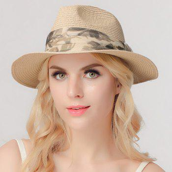 Chic Printed Yarn Band Embellished Sun-Resistant Women's Straw Hat