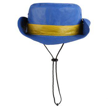 Chic Button Drawstring Sun-Resistant Women's Collapsible Bucket Hat - PURPLISH BLUE