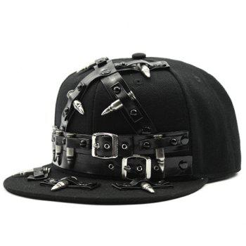 Stylish Belt Buckle and Bullet Embellished Men's Black Baseball Cap