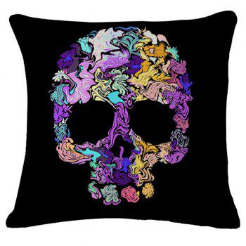 Creative Irregular Skull Pattern Flax Square Shape Pillowcase (Without Pillow Inner)