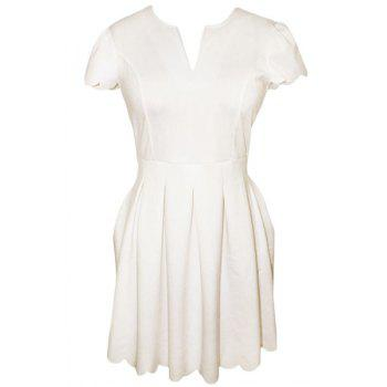 Graceful V-Neck Short Sleeve Solid Color Scalloped Women's Dress