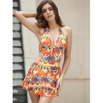 Sexy Halter Cut Out Printed One-Piece Women's Swimwear - COLORMIX S