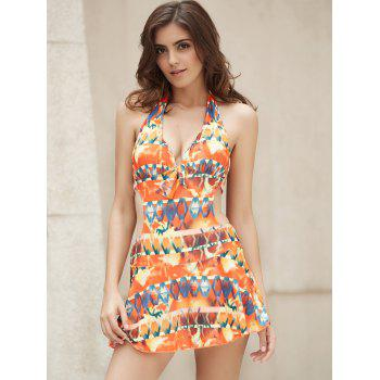Sexy Halter Cut Out Printed One-Piece Women's Swimwear