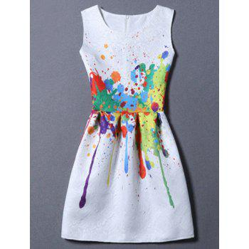Sweet Round Neck Colorful Print Women's Dress
