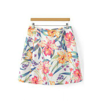 Stylish High Waist A-Line Floral Print Women's Skirt