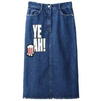 Stylish High Waist Fitted Letter Print Denim Women's Skirt